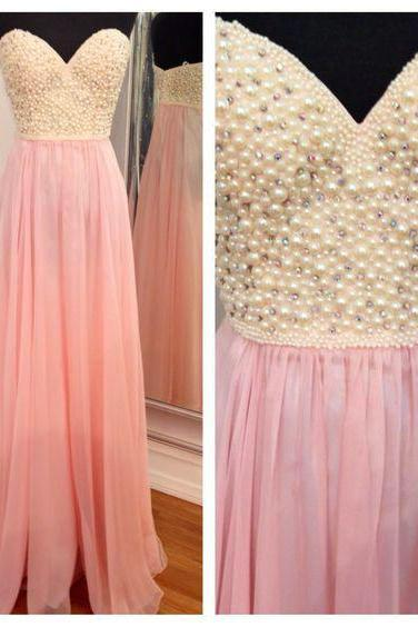 Sweetheart Chiffon Prom Dresses Pearl Beaded Women Party Dresses