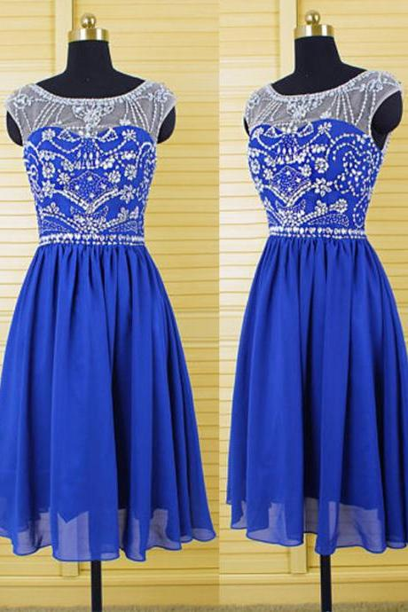 Royal Blue Short Chiffon Homecoming Dresses Scoop Neck Women Party Dresses