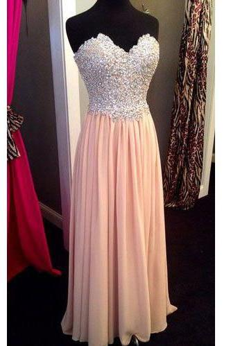 Long Chiffon Prom Dresses Crystals Beaded Women party Dresses