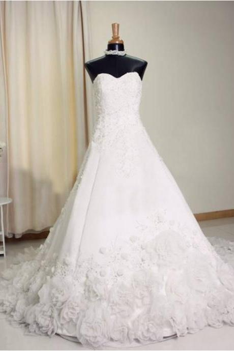 Sweetheart Neck A-line White Wedding Dresses Appliques Women Bridal Gowns