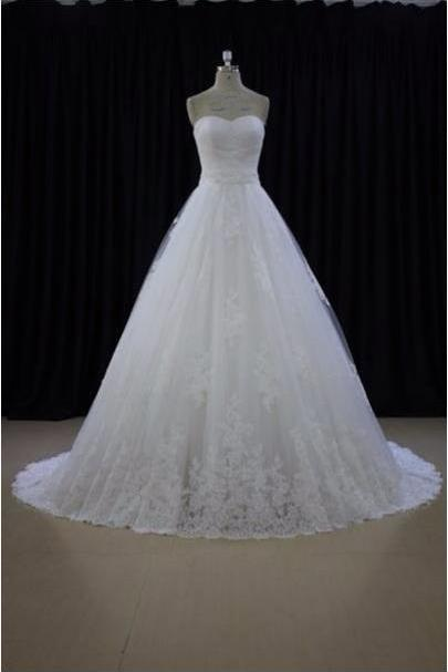 Sweetheart Neck A-line White Lace Wedding Dresses Appliques Women Bridal Gowns