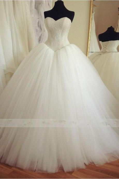 Sweetheart Neck Ball Gowns Tulle Wedding Dresses Beaded Wedding Dresses