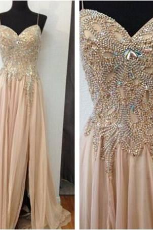 Spaghetti Straps A-line Chiffon Prom Dresses Crystals women Party Dresses