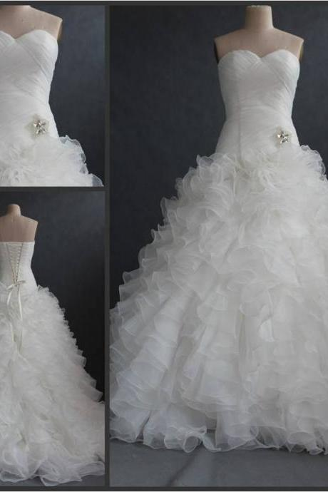 Sweetheart Neck Mermaid Organza Wedding Dresses Pleat Women Bridal Gowns