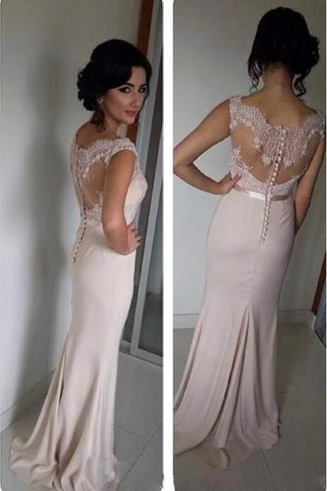 Scoop Neck Long Chiffon Prom Dresses Lace Appliques Floor Length Party Dresses Custom Made Women Dresses