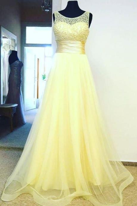 Scoop Neck Yellow Tulle Prom Dresses Beaded Women Party Dresses
