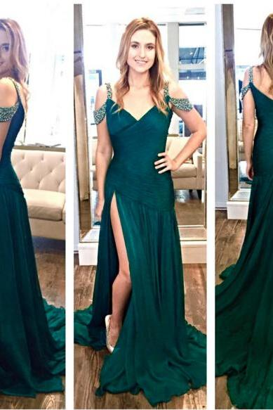 V-neck Mermaid Chiffon prom Dresses Custom Made Floor Length party Dresses