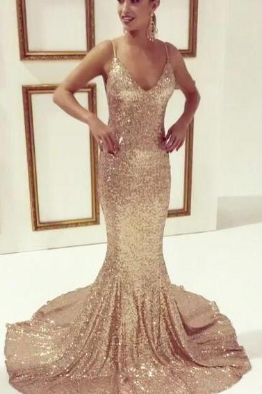 Spaghetti Straps Mermaid Sequined Lace Prom Dresses Custom Made Women Party Dresses