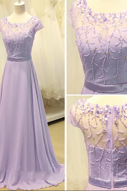 Light Purple Chiffon Prom Dresses Beaded Women Party Dresses