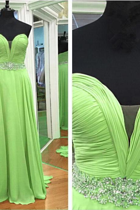 Sweetheart Neck Green Chiffon Prom Dresses Crystals Women Party Dresses