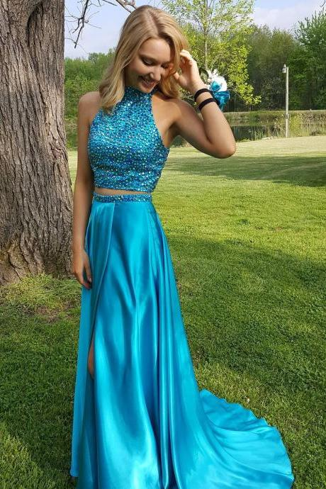 Halter Neck Satin Prom Dresses Two Parts Beaded Women party dresses