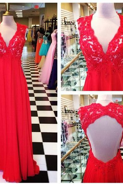 V-neck Red Chiffon Prom Dresses Open back Lace Women Party Dresses