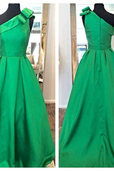 One Shoulder Green Satin Prom Dresses Charming Women party Dresses