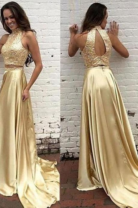 Halter Neck Soft Satin Prom Dresses Beaded Two Parts Women Party Dresses