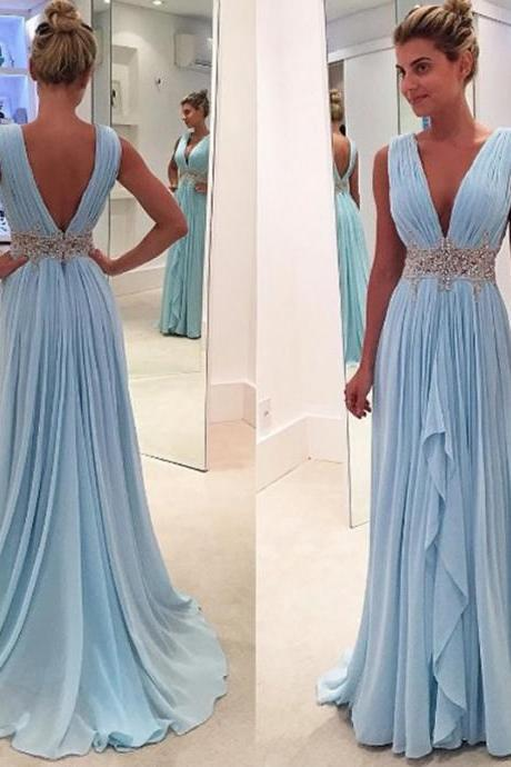 Open back Long Chiffon Prom Dresses Crystals Women Party Dresses
