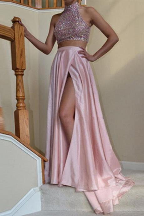 Halter neck Satin Prom Dresses Crystals Women Party Dresses