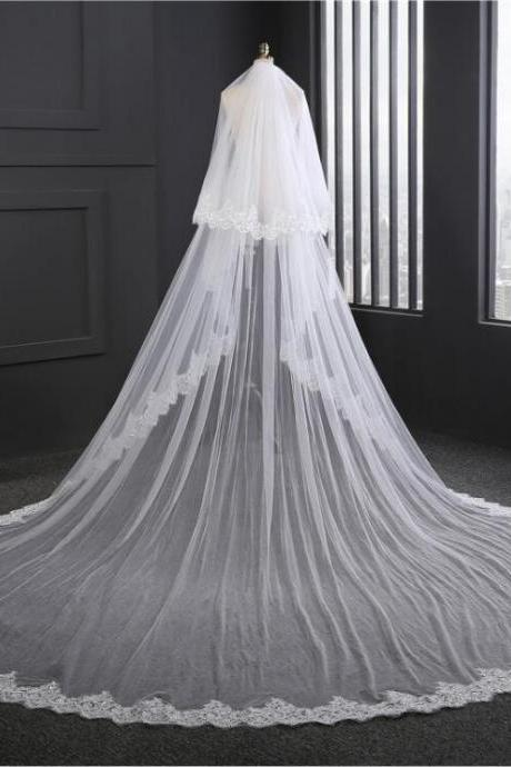 Big Wedding Veils Lace Edge