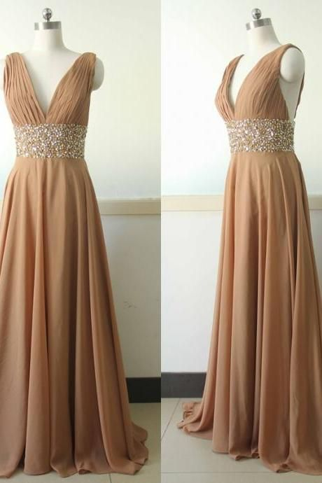 V-neck Long Chiffon Prom Dresses Crystals Women Party Dressses