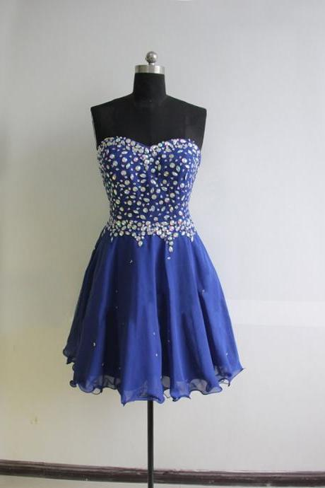 Blue Chiffon Homecoming Dresses Sweetheart Neck Crystals Women Party dresses