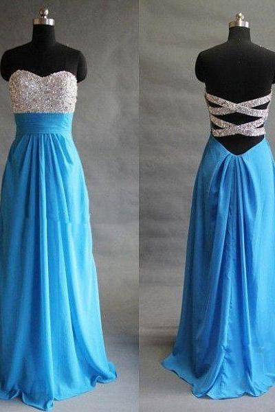 Sweetheart Neck Long Chiffon prom Dresses Crystals Women party Dresses
