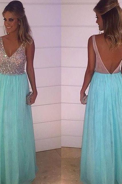 Open Back Long Chiffon Prom Dresses V-neck Crystals Women Party Dresses