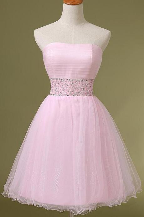 Short Pink Tulle Homecoming Dresses Crystals Women party Dresses