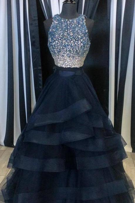 Scoop neck Tulle Prom Dresses, Shining Beaded Women party Dresses, Charming Layer Women Prom Dresses 2017