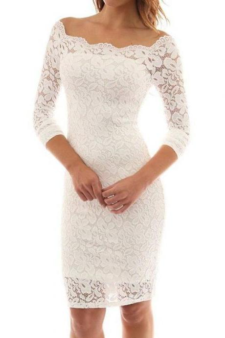White Lace Prom Dresses, Scoop Neck Women Party Dresses, Short Prom Dresses 2017