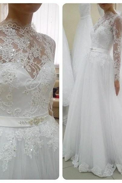 Long Sleeves Wedding Dresses, Lace Wedding Dresses, tulle Wedding Gowns, Formal bridal Gowns