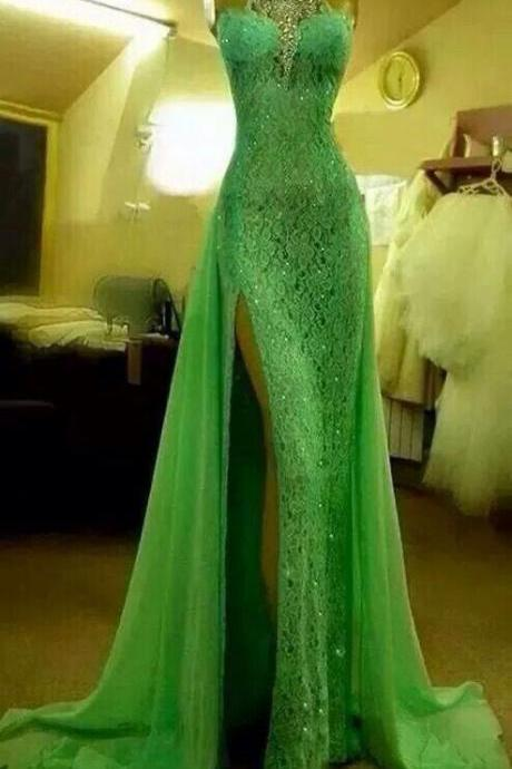 Green lace Prom Dresses, Halter Neck Prom Dresses, Crystals Prom Dresses, Long lace Women Dresses 2017