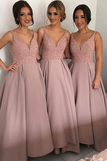 Long Satin Bridesmaid Dresses, V-neck Women bridesmaid Dresses, Custom Made Bridesmaid Dresses 2017