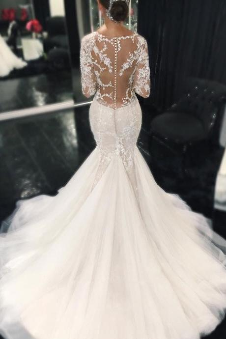 Mermaid Bridal Gowns, Gorgeous Tulle Wedding Dresses, Long Sleeves Lace Wedding Gowns 2017
