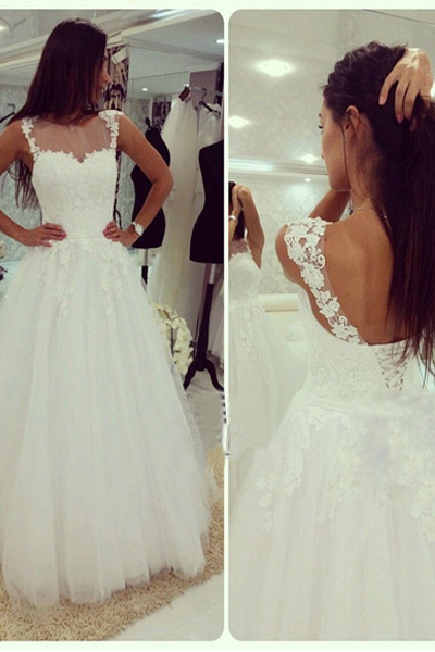White Tulle Wedding Dresses, Open Back Lace Women Bridal Gowns