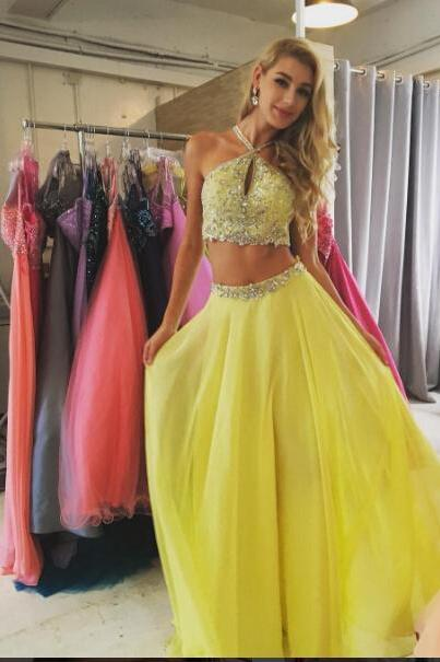 Halter Neck yellow Tulle Prom Dresses Crystals 2 Pieces women Party Dresses