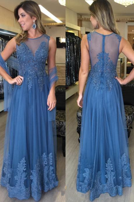 Scoop Neck Tulle Prom Dresses Lace Appliques Beaded Women Party Dresses