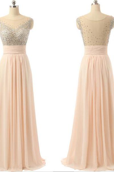 Scoop Neck Pink Chiffon Prom Dresses Crystals Floor Length Women Party Dresses