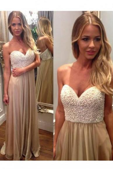 Floor Length Chiffon Prom Dresses Sweetheart Beaded Women Party Dresses