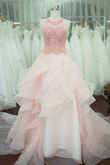 Light Pink Organza Prom Dresses Lace Appliques Women Party Dresses