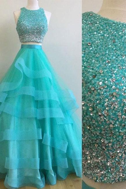 Two Pieces Tulle Prom Dresses Crystals Beaded Floor Length Women Dresses