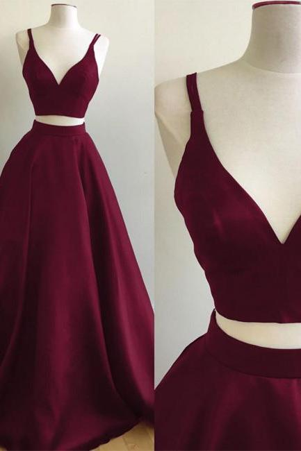 2 Pieces Long Satin Prom Dresses V-neck Women Burgundy Evening Dresses