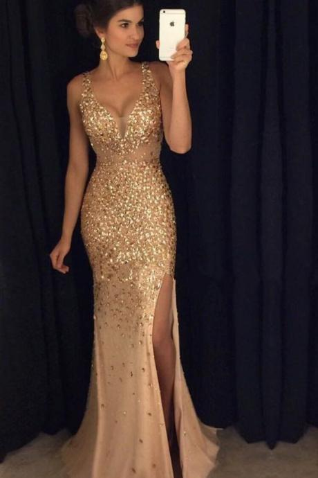 Mermaid Chiffon Prom Dresses V-neck Crystals Floor Length Women Dresses