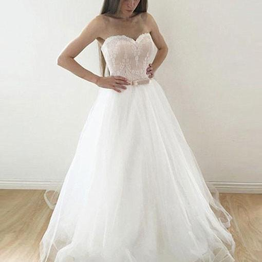 Sweetheart A-line White Tulle Prom Dresses Lace Long Women Evening Dresses