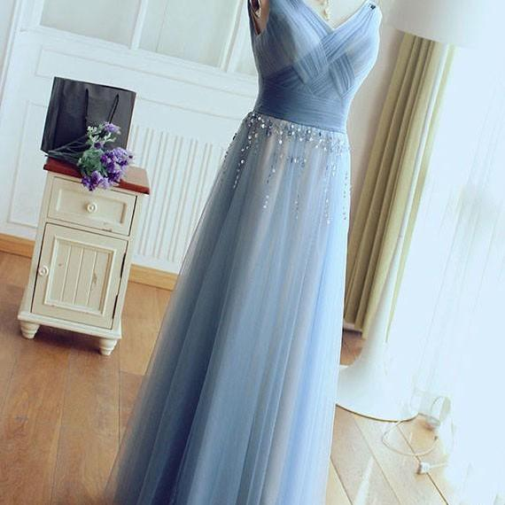 V-neck A-line Tulle Prom Dresses Floor Length Women Party Dreses Crystals