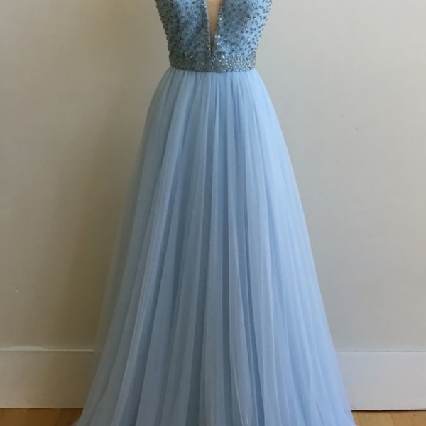 Deep V-neck Long Tulle Prom Dresses Beaded Women Dresses