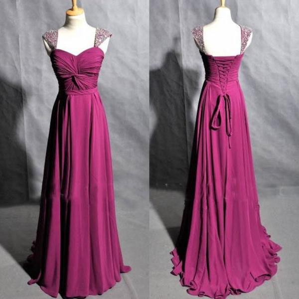 Long Chiffon Prom Dresses Beaded Women Party Dresses