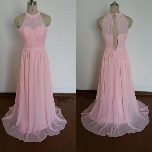 Light Pink Chiffon Prom Dresses