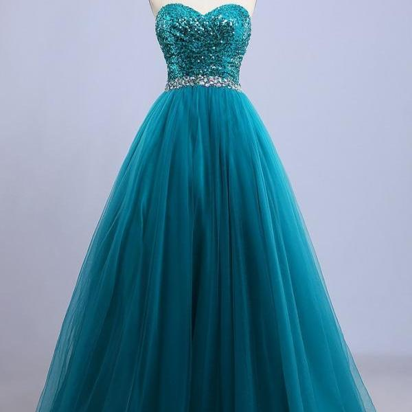 Sweetheart Long A-line Tulle Prom Dresses Crystals Women Dresses