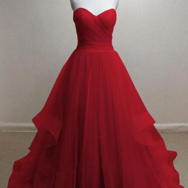 Red A-line Tulle Prom Dress Sweetheart Neck Pleat Women Party Dress