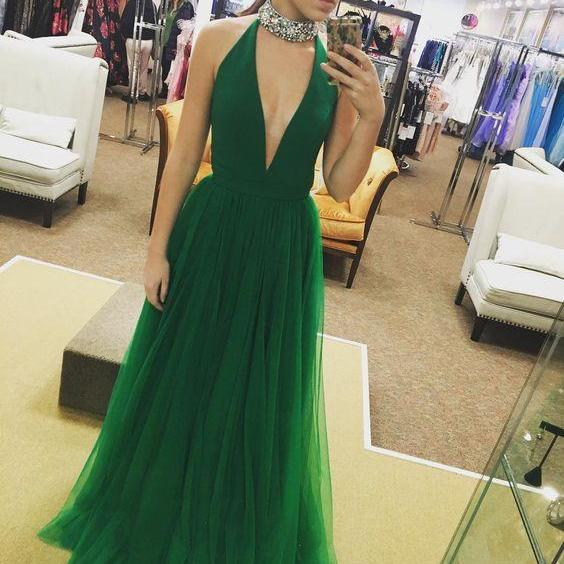Halter Neck Long Tulle Prom Dress Deep V Neck Women Party Dress