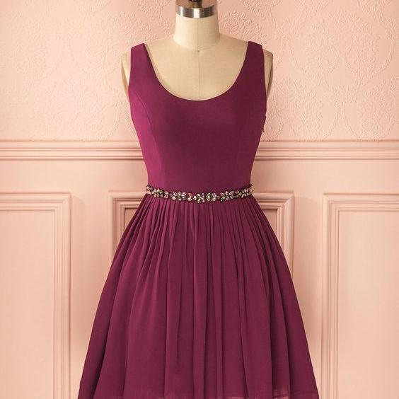 Scoop Neck Above Knee Mini Chiffon Homecoming Dress AF062418